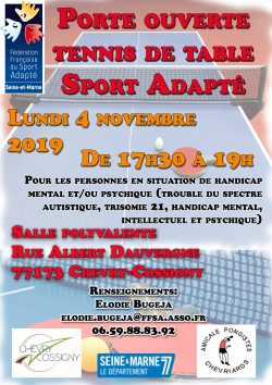 2019.10.01 - Porte ouverte tennis de table Chevry Cossigny - 4 Novembre